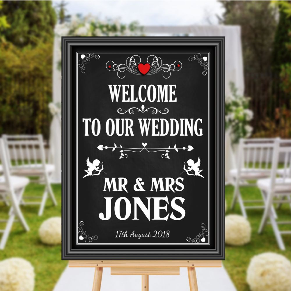 Personalised Vintage Welcome To Our Wedding Sign Poster